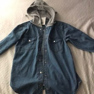 H&M jean button up with grey hood